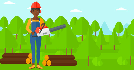 An african-american lumberjack holding a chainsaw on a forest background vector flat design illustration. Horizontal layout. Illustration