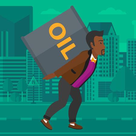 Un hombre afroamericano que lleva una lata de aceite en la espalda en una ilustración de diseño plano de la ciudad de vectores de fondo. de planta cuadrada. Ilustración de vector