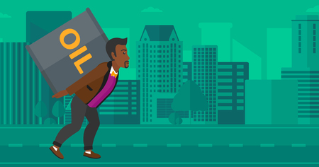 man carrying: An african-american man carrying an oil can on his back on a city background vector flat design illustration. Horizontal layout.