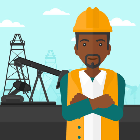 hombre con sombrero: Un hombre afroamericano en casco de pie con los brazos cruzados sobre un fondo de vector diseño plano torre de perforación de petróleo. de planta cuadrada.