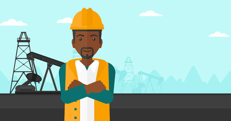 crossed arms: An african-american man in helmet standing with crossed arms on an oil derrick background vector flat design illustration. Horizontal layout. Illustration