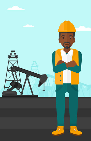 crossed arms: An african-american man in helmet standing with crossed arms on an oil derrick background vector flat design illustration. Vertical layout.