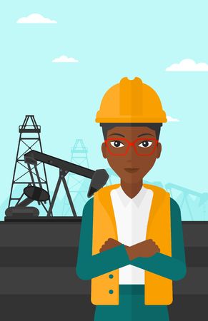 exhaustion: An african-american woman in helmet standing with crossed arms on an oil derrick background vector flat design illustration. Vertical layout.