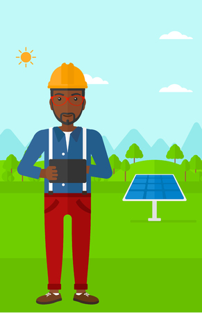 An african-american man in hardhat holding a tablet computer in hands on a background with solar pannels vector flat design illustration. Vertical layout. Illustration