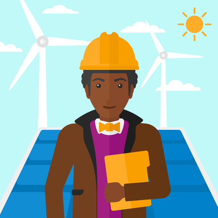 cartoon wind: An african-american man standing with a tablet computer in hand on a background with solar pannels and wind turbins vector flat design illustration. Square layout.