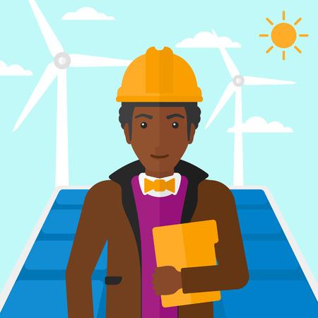 obrero caricatura: Un hombre afroamericano de pie con un ordenador tableta en la mano sobre un fondo con paneles solares y el viento turbins ilustraci�n vectorial dise�o plano. de planta cuadrada.