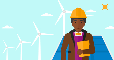 sun background: An african-american man standing with a tablet computer in hand on a background with solar pannels and wind turbins vector flat design illustration. Horizontal layout. Illustration