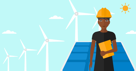 cartoon wind: An african-american woman standing with a tablet computer in hand on a background with solar pannels and wind turbins vector flat design illustration. Horizontal layout.