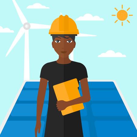 obrero caricatura: Una mujer afroamericana de pie con un ordenador tableta en la mano sobre un fondo con paneles solares y el viento turbins ilustraci�n vectorial dise�o plano. de planta cuadrada.