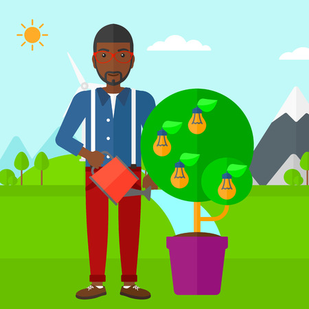 man outdoors: An african-american man standing on a background with mountain and watering a tree growing in pot with light bulbs instead flowers vector flat design illustration. Square layout.