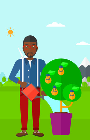 An african-american man standing on a background with mountain and watering a tree growing in pot with light bulbs instead flowers vector flat design illustration. Vertical layout. Ilustrace