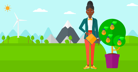 watering pot: An african-american woman standing on a background with mountain and watering a tree growing in pot with light bulbs instead flowers vector flat design illustration. Horizontal layout.