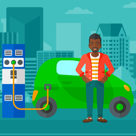 plugging: An african-american man charging his electric car on a city background vector flat design illustration. Square layout.