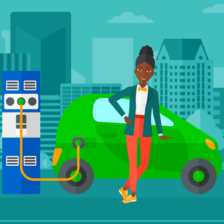 electric car: An african-american woman charging her electric car on a city background vector flat design illustration. Square layout.
