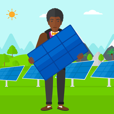 cartoon mountain: An african-american man holding a solar panel in hands on a background with solar panels vector flat design illustration. Square layout. Illustration