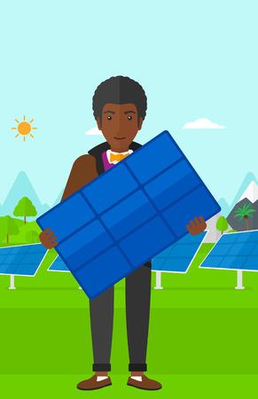 electricidad industrial: Un hombre afroamericano celebraci�n de un panel solar en las manos sobre un fondo con paneles solares ilustraci�n vectorial dise�o plano. disposici�n vertical.