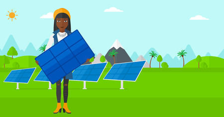 panels: An african-american woman holding a solar panel in hands on a background with solar panels vector flat design illustration. Horizontal layout.