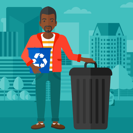 An african-american man standing with a recycle bin in hand and another bin on the ground on a city background vector flat design illustration. Square layout.