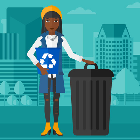 An african-american woman standing with a recycle bin in hand and another bin on the ground on a city background vector flat design illustration. Square layout.