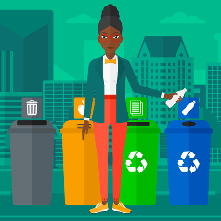 An african-american woman standing near four bins and throwing a plastic bottle in an appropriate bin on a city background vector flat design illustration. Square layout.