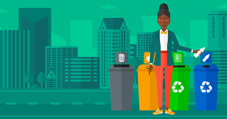 appropriate: An african-american woman standing near four bins and throwing a plastic bottle in an appropriate bin on a city background vector flat design illustration. Horizontal layout.