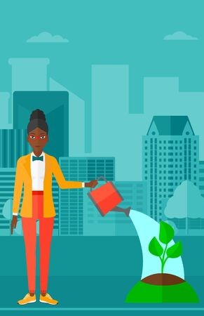An african-american woman watering a tree on a city background vector flat design illustration. Vertical layout.