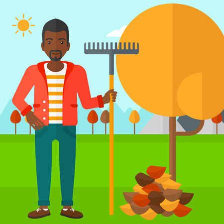 An african-american man with rake standing near tree and heap of autumn leaves vector flat design illustration. Square layout.