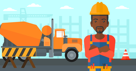 An african-american man standing with arms crossed on a background of construction site with concrete mixer and road barriers vector flat design illustration. Horizontal layout. Illusztráció