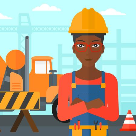 コンクリート ミキサーで工事現場の背景に腕を突っ立っているアフリカ系アメリカ人女性を渡り、道路の障壁ベクトル フラットなデザイン イラス