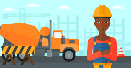 An african-american woman standing with arms crossed on a background of construction site with concrete mixer and road barriers vector flat design illustration. Horizontal layout. Illustration