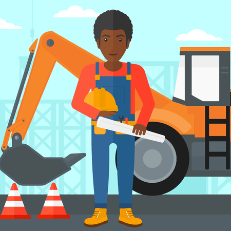 An african-american man holding a hard hat and a twisted blueprint in hands on a background of construction site with excavator and traffic cones vector flat design illustration. Square layout.