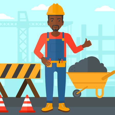 Un hombre afroamericano en el casco que muestra los pulgares arriba signo en un fondo del sitio de construcción con las barreras del camino y el ejemplo plano del diseño del vector de la carretilla. Diseño cuadrado Foto de archivo - 52296386