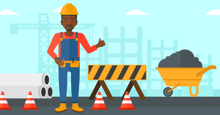construction sign: An african-american man in helmet showing thumbs up sign on a background of construction site with road barriers and wheelbarrow vector flat design illustration. Horizontal layout.