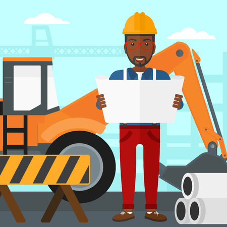 draftsman: An african-american man considering a blueprint on a background of excavator on a construction site vector flat design illustration. Square layout.