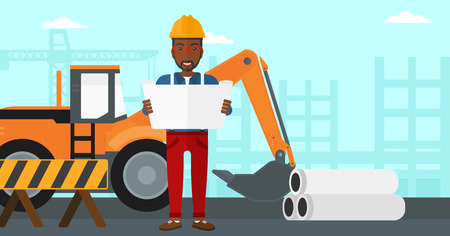 site: An african-american man considering a blueprint on a background of excavator on a construction site vector flat design illustration. Horizontal layout.