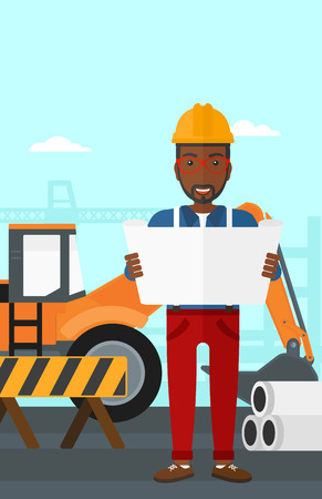 draftsman: An african-american man considering a blueprint on a background of excavator on a construction site vector flat design illustration. Vertical layout.