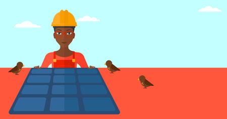 sun roof: An african-american woman installing solar panels on roof vector flat design illustration. Horizontal layout. Illustration