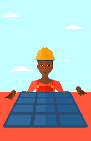 sun background: An african-american woman installing solar panels on roof vector flat design illustration. Vertical layout. Illustration