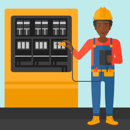 switchboard: An african-american man in helmet measuring the voltage output vector flat design illustration. Square layout. Illustration