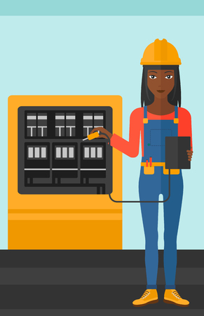 switchboard: An african-american woman in helmet measuring the voltage output vector flat design illustration. Vertical layout. Illustration