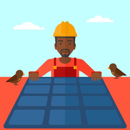 obrero caricatura: Un hombre afroamericano instalaci�n de paneles solares en el techo de vector dise�o plano. de planta cuadrada.