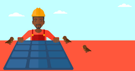 setup man: An african-american man installing solar panels on roof vector flat design illustration. Horizontal layout. Illustration