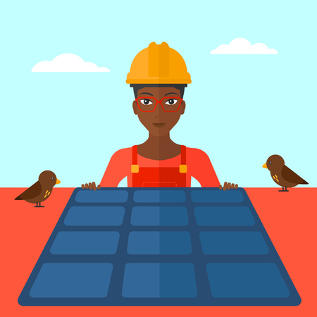 sun roof: An african-american woman installing solar panels on roof vector flat design illustration. Square layout.