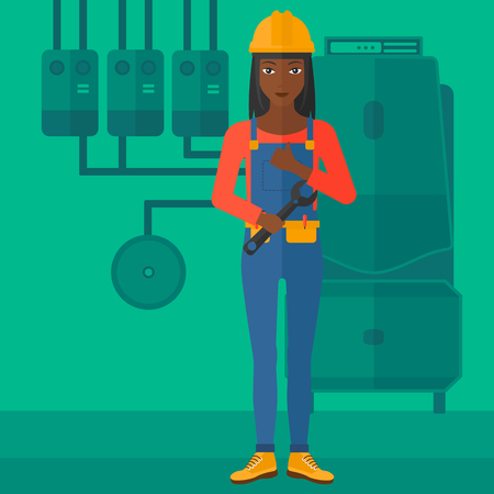 An african-american female repairer engineer with a spanner in hand showing thumb up sign on a background of domestic household boiler room with heating system and pipes vector flat design illustration. Square layout.