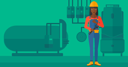 boiler room: An african-american female repairer engineer with a spanner in hand showing thumb up sign on a background of domestic household boiler room with heating system and pipes vector flat design illustration. Horizontal layout.