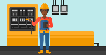 switchboard: An african-american man in helmet measuring the voltage output vector flat design illustration. Horizontal layout.