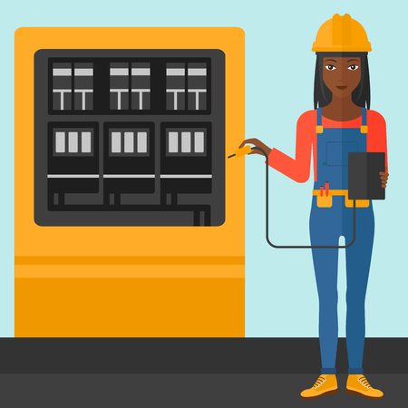 switchboard: An african-american woman in helmet measuring the voltage output vector flat design illustration. Square layout.
