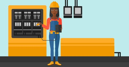 An african-american woman in helmet measuring the voltage output vector flat design illustration. Horizontal layout. Illustration