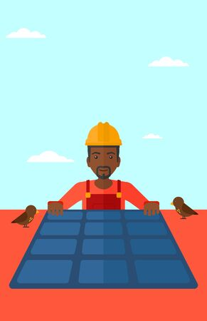 setup man: An african-american man installing solar panels on roof vector flat design illustration. Vertical layout. Illustration