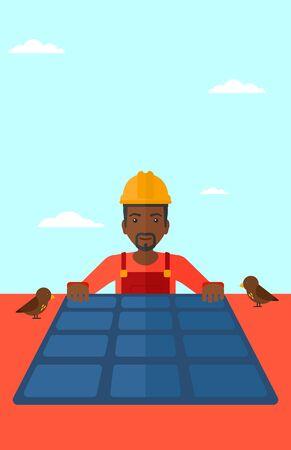 obrero caricatura: Un hombre afroamericano instalaci�n de paneles solares en el techo de vector dise�o plano. disposici�n vertical. Vectores